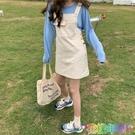 夏季新款韓版洋氣減齡學生百搭高腰顯瘦網紅牛仔背帶短裙女潮 快速出貨