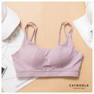 Catworld 舞動甜心。無鋼圈雙肩美背運動內衣(粉紫)【18808182】‧S-XL