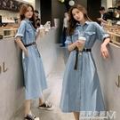 牛仔裙洋裝女夏季新款氣質法式桔梗長款裙子...
