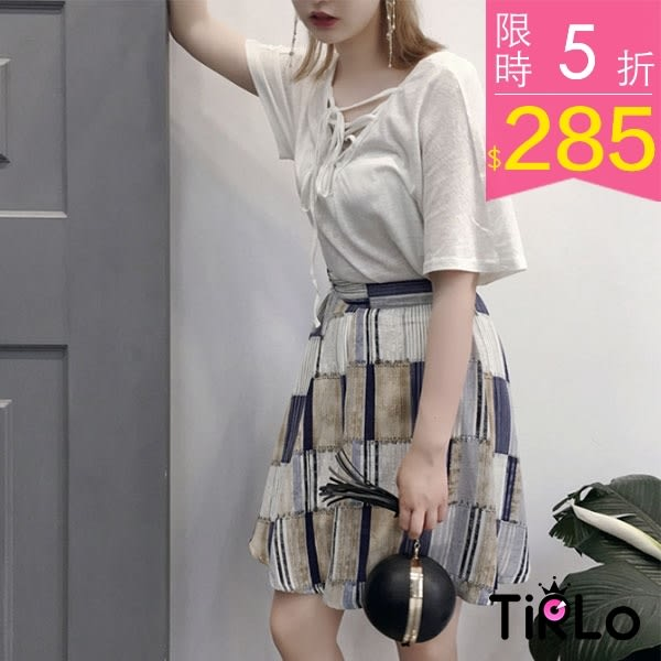 短裙-Tirlo-Korea韓製拼接風格傘擺圓裙-單一【現貨】