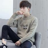 秋冬季半高領毛衣男士韓版潮流青少年男生加厚款寬鬆針織衫毛線衣-ifashion