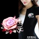 玫瑰花胸針胸花別針徽章配飾大衣時尚外套女韓版奢華大氣簡約飾品【果果新品】