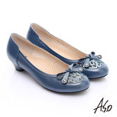 A.S.O 3E舒活寬楦 全真皮動物紋鞋面奈米低跟鞋 藍