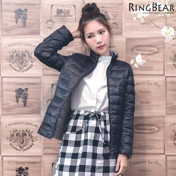 極輕羽絨--保暖立領雙面可穿撞色雙口袋附收納袋輕薄羽絨外套(黑.桃.藍XL-2L)-J303眼圈熊中大尺碼
