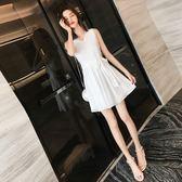 無袖洋裝 韓版少女心仙女裙甜美修身雪紡A字短裙