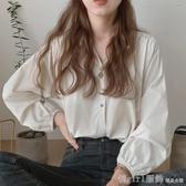 襯衫 秋裝2020年新款女上衣韓版簡約百搭圓領洋氣設計感小眾長袖襯衫 俏girl