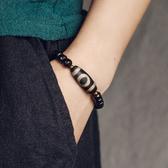 凹凸黑檀木珠混搭天珠復古手鍊情侶手飾/設計家