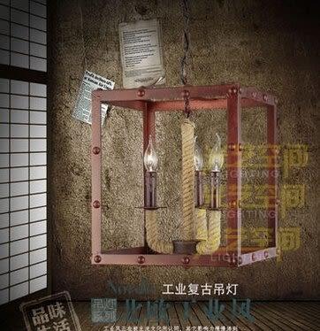 設計師美術精品館美式鄉村個性創意燈具臥室客廳複古酒吧歐式簡約麻繩吊燈手工編制