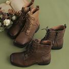 側拉鏈休閒短靴 真皮手工短靴 英倫風馬丁靴/2色-夢想家-標準碼-1022