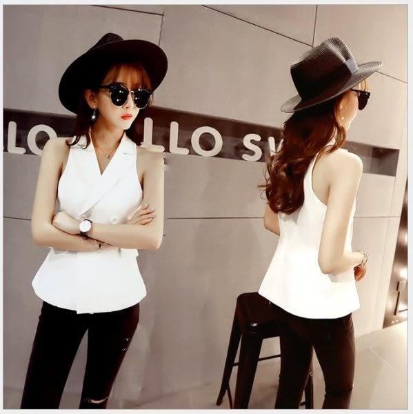 現貨 - 夏季新款韓版時尚西裝領無袖雙排扣修身收腰馬甲背心