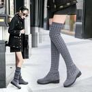 長靴長筒彈力靴女靴絨面長靴圓頭保暖加絨粗跟百搭防滑襪靴[快速出貨]