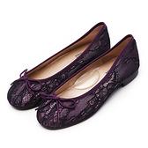 G.Ms. MIT系列-夢幻芭蕾蝴蝶結娃娃鞋-蕾絲紫