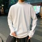 春秋男生打底衫潮流慵懶風半高領長袖純色T恤男港風韓版寬鬆上衣 寶貝計劃