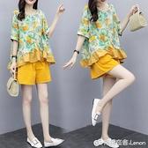 亞麻套裝 棉麻套裝女年夏季新款寬松顯瘦時尚短褲亞麻兩件套赫本輕熟風