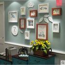 创意小鸟墙贴相框组合实木照片墙相框客厅挂墙【無置物架款白胡兩色】