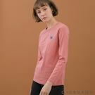 【GIORDANO】女裝小清新刺繡長袖T恤 - 91 暗粉紅
