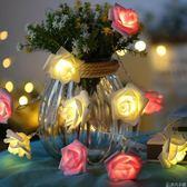 LED玫瑰花燈串防水小彩燈串燈婚房臥室房間裝飾燈串求婚錶白燈串     非凡小鋪