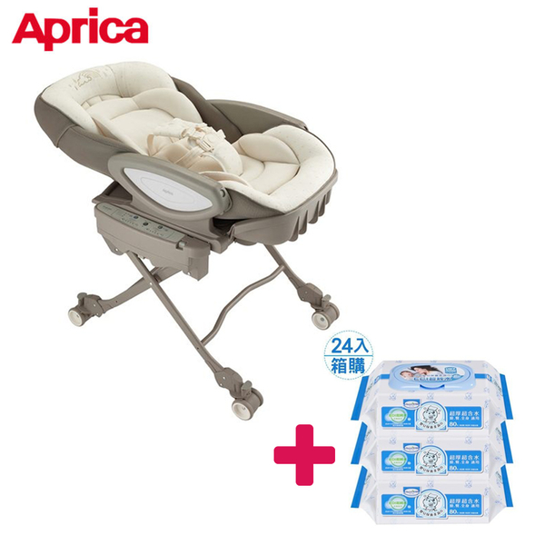 【送貝恩嬰兒柔濕巾一箱】愛普力卡 Aprica  電動餐搖椅 YuraLism AUTO DX 彩虹雲 BR