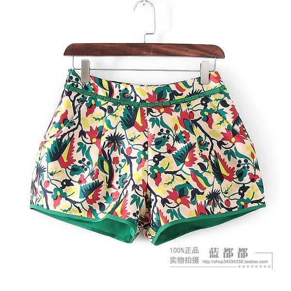 [超豐國際]妝春夏裝女裝彩色花朵時尚休閑短褲 32633(1入)