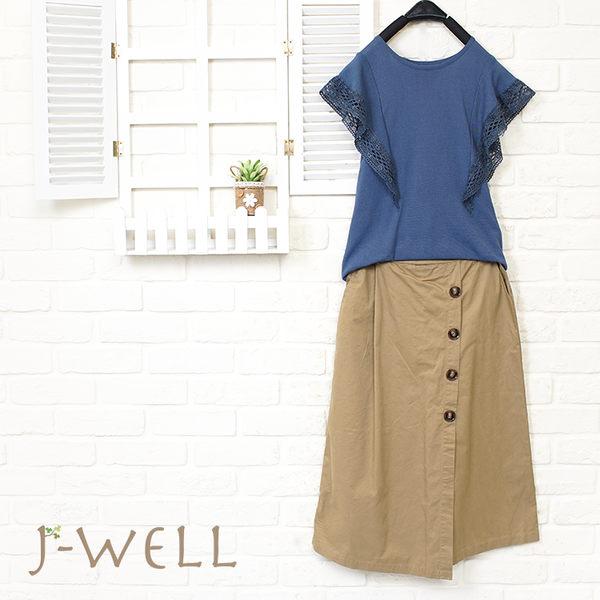 J-WELL 小資氣質款上衣仿裙褲二件組 (組合879 8J1478深藍F+8J1530卡其F)