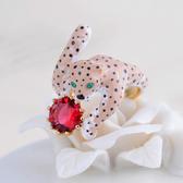 【ANGEL】法式琺瑯彩釉飛豹水晶開口式戒指(粉色金黃色2色可選)