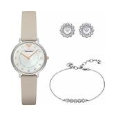【Emporio Armani】Dress優雅風情時尚晶鑽腕錶+首飾套組-珍珠白/AR80001/台灣總代理公司貨享兩年保固