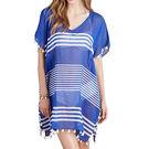 Love21-時尚女泳裝沙灘比基尼罩衫(條紋雪紡藍色)