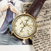 CITIZEN 星辰表 / AN3612-09P / 三眼計時 礦石強化玻璃 日期 壓紋小牛皮手錶 銀白x金框x深褐 41mm