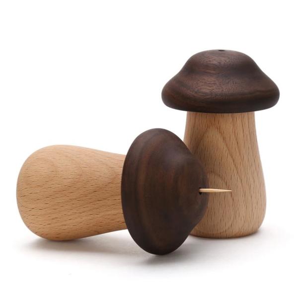 實木質可愛創意蘑菇家用牙簽筒簡約日式北歐個性飯店