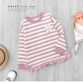 甜美粉色條紋星星毛線繡上衣 長袖 針織 荷葉邊 縮口 女上衣 女童裝 秋冬長袖