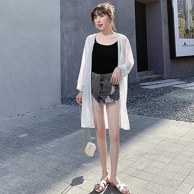 雪紡沙灘防曬衣女外套新款超仙透氣中長薄款開衫百搭外搭長袖G447-H胖妞衣櫥