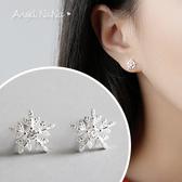 925純銀耳環。AngelNaNa  超閃小雪花水鑽鋯石-耳釘耳針耳飾銀飾 (SRA0513)