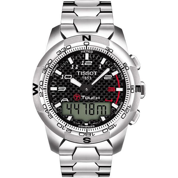 TISSOT 天梭 T-TOUCH II 鈦觸控錶-黑x銀/43mm T0474204420700