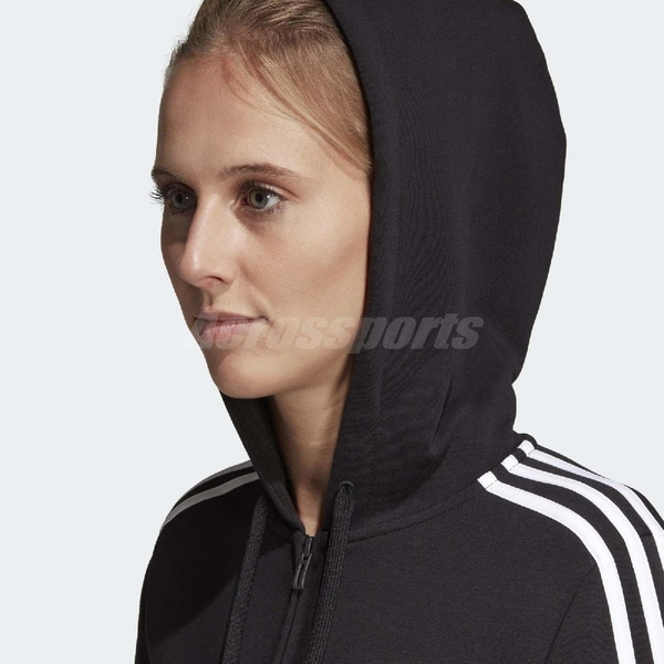 adidas 外套 ESS 3Stripe Full Zip 女款 愛迪達 連帽 健身路跑 經典基本 運動休閒 黑白【ACS】 DP2419