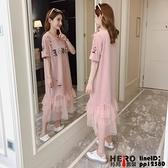 洋裝連身裙孕婦裝春裝夏裝短袖連身裙2018中長款T恤裙夏季網紗裙子長裙