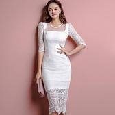 歐媛韓版 蕾絲洋裝 性感露背蕾絲禮服裙 中長款氣質修身顯瘦包臀連身裙女 店慶降價
