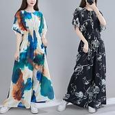 中大尺碼洋裝 2021春季新款文藝大碼女裝休閑顯瘦收腰長裙胖妹妹洋氣短袖連身裙