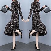 洋裝 中年媽媽裙子女裝長袖碎花裙秋季優雅時尚顯瘦顯高氣質連身裙子N118韓衣裳