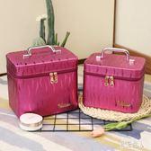 女士化妝箱 女大容量便攜化妝品收納盒大小號簡約韓版化妝箱手提 LJ2784『紅袖伊人』