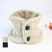 出口日本秋冬季女士時尚圍脖針織加絨加厚護頸保暖披肩紐扣脖套女  魔法鞋櫃