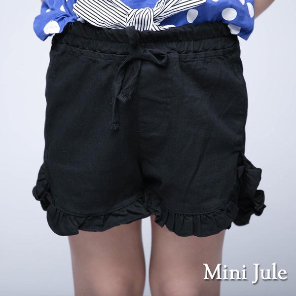 童裝 短褲 雙層波浪綁帶下擺鬆緊短褲(黑)