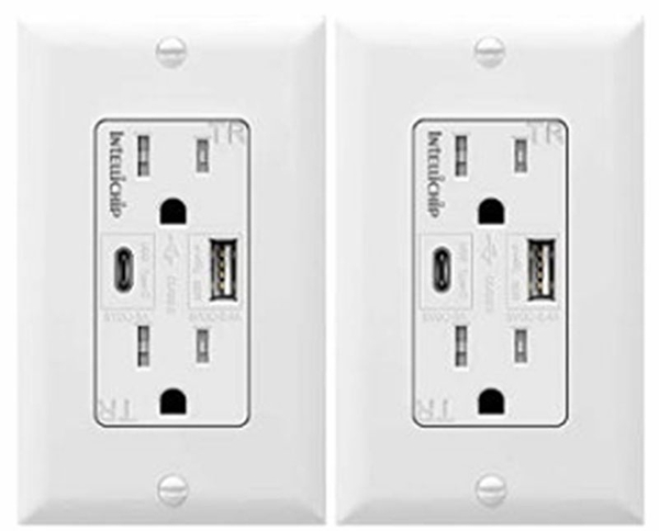 [9美國直購] TOPGREENER TU21558AC 2 入裝 USB 插座 Outlet with USB Type C/A Charging Ports 5V/4.8A, 15A