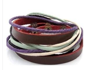 波西米亞風 時尚個性 多層長款纏繞牛皮/真皮手鏈