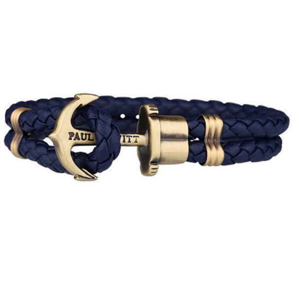 PH PAUL HEWITT PH 手環 皮革編織 古銅扣 德國 PHREP 海軍藍 深藍 船錨 真皮 手環 手鍊 男女皆可配戴
