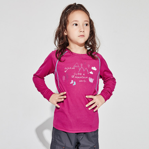 ADISI 童圓領智能纖維超輕速乾長袖上衣AL1921026 (120-150) / 城市綠洲 (PP紗、輕量排汗、調節體溫)