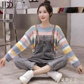 吊帶褲女-秋冬季新款韓版減齡牛仔背帶褲 寬鬆條紋套頭毛衣 花間公主
