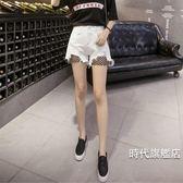 夏季正韓高腰毛邊刷破闊腿熱褲加肥加大尺碼胖mm網格牛仔短褲女( 一件免運)