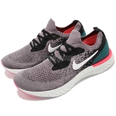 Nike 慢跑鞋 Epic React Flyknit GS 灰 白 緩震回彈舒適 女鞋 運動鞋【ACS】 943311-010