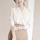 雪紡襯衫女長袖2020春裝新款韓范夏季職業百搭寬鬆上衣V領白襯衣 雙11提前購