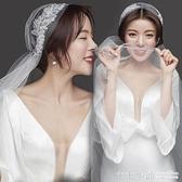 復古帽式手工縫制葉子蕾絲新娘頭紗韓式婚紗禮服頭飾配飾影樓寫真